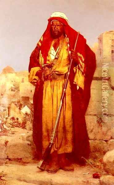 A Nubian Guard Oil Painting - Adolf Seel