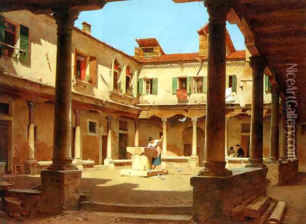 In The Courtyard Oil Painting - Adolf Seel