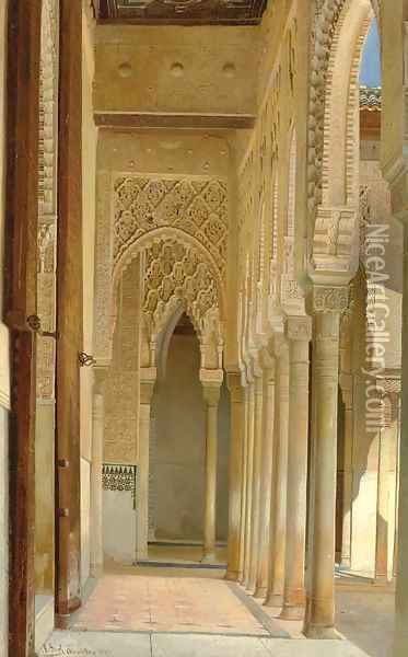 A Colonnade, Alhambra Palace Oil Painting - Adolf Seel