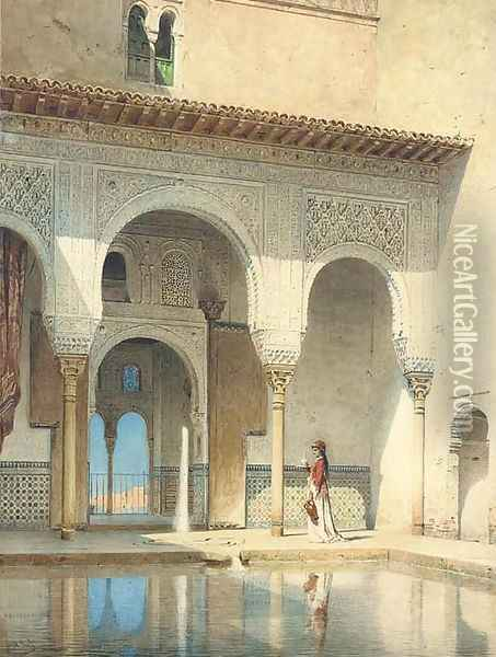 A courtyard in the Alhambra Palace, Granada Oil Painting - Adolf Seel