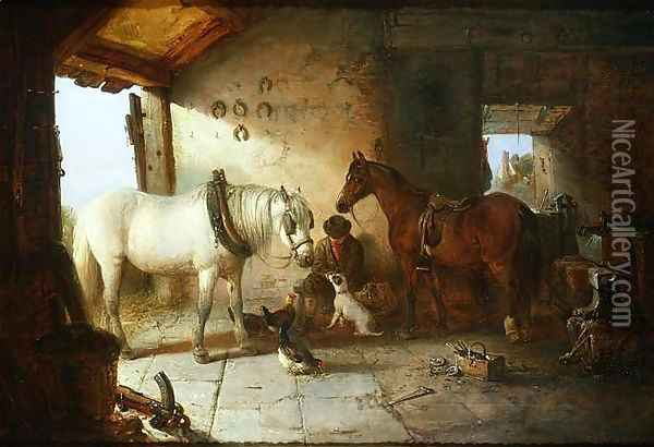 In the Forge Oil Painting - Edward Robert Smythe