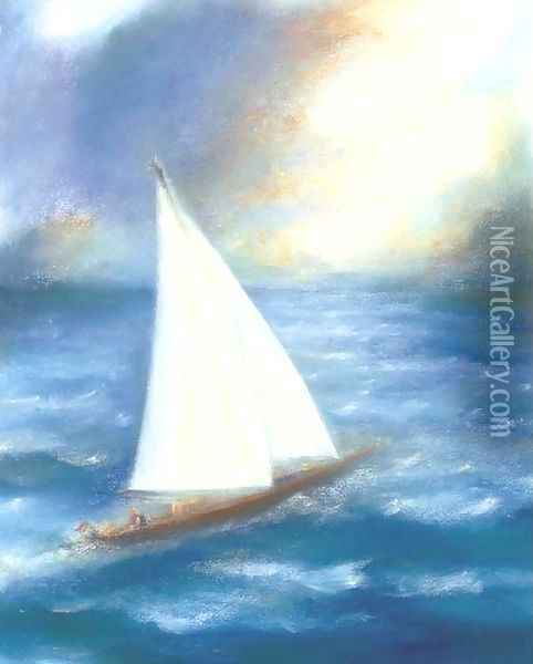 Sailing boat Oil Painting - English School