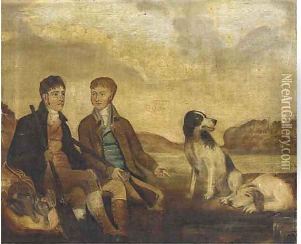 Huntsmen with their dogs resting by a river Oil Painting - English School
