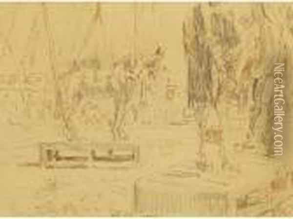 A View Of Two Horses Standing On Boxes In A Circus Ring Oil Painting - Walter Richard Sickert