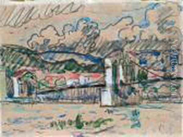 Bourg Saint-andeol. Oil Painting - Paul Signac