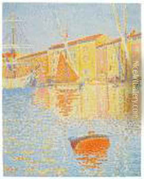 La Bouee (saint-tropez: Le Port) Oil Painting - Paul Signac