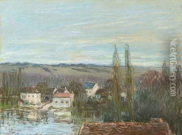 Abreuvoir De Marly Oil Painting - Alfred Sisley