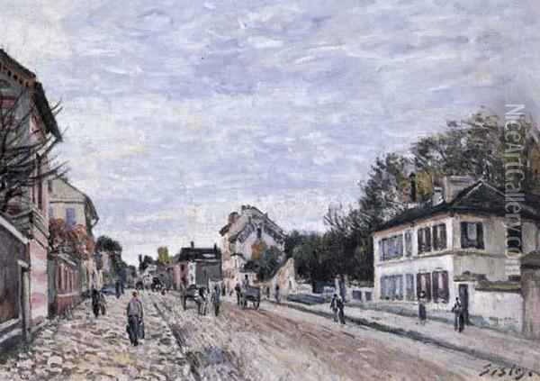 Scene De Rue A Marly Oil Painting - Alfred Sisley