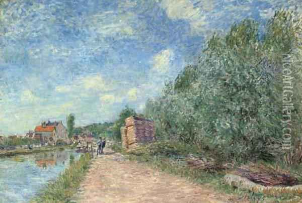 Canal Du Loing - Chemin De Halage Oil Painting - Alfred Sisley