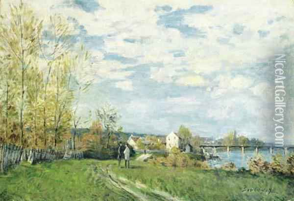 Bords De Seine A Bougival Oil Painting - Alfred Sisley