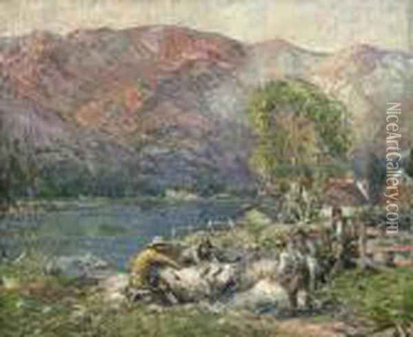 Sheep Shearing In The Strath Oil Painting - George Smith