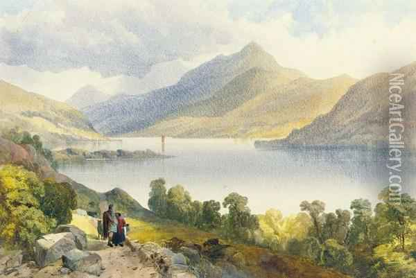 Loch Tay, Near Kinmore Oil Painting - James Burrell-Smith