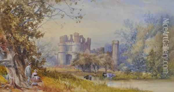 Herstmonceux Castle Oil Painting - James Burrell-Smith