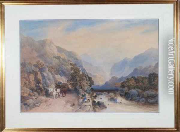 A Horsecart And Figures On A Road By A River In Mountainous Country Oil Painting - James Burrell-Smith