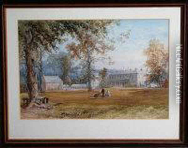 Figures In The Grounds Of A Country House Oil Painting - James Burrell-Smith