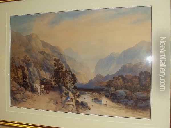Mountainous River Landscape, With Figures, Horse And Cart On A Riverside Track Oil Painting - James Burrell-Smith