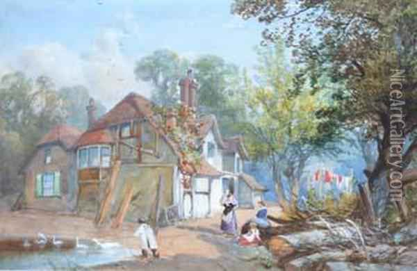 Figures Outside Acottage Oil Painting - James Burrell-Smith