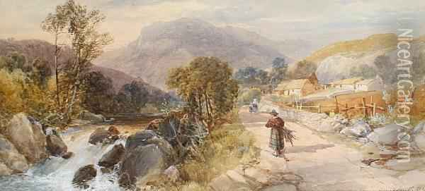 Figures On A Path By A River Oil Painting - James Burrell-Smith