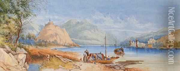 A Continental Lake Scene Oil Painting - James Burrell-Smith