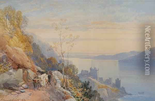 Castle Urquhart, Loch Ness Oil Painting - James Burrell-Smith