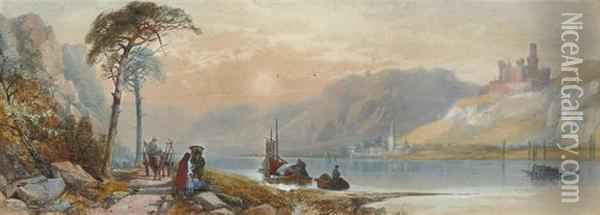 Figures Passing Along The Rhine With Mouse Castle Beyond Oil Painting - James Burrell-Smith