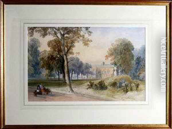 Gardeners In The Grounds Of Whitburn Hall Oil Painting - James Burrell-Smith