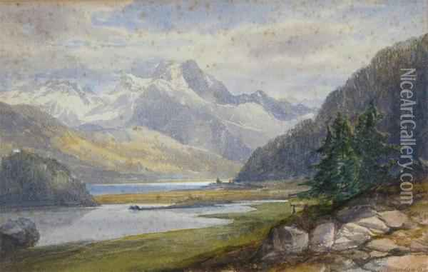 Lake Landscape With Mountains Beyond Oil Painting - James Burrell-Smith