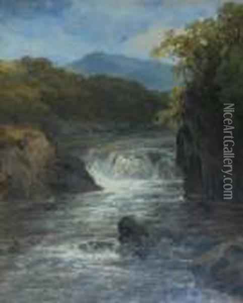 Waterfall In A Highland Landscape Oil Painting - James Burrell-Smith