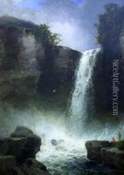 Figures Beside A Waterfall Oil Painting - James Burrell-Smith