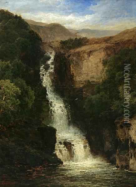 A View Of A Waterfall In A Mountainouslandscape Oil Painting - James Burrell-Smith