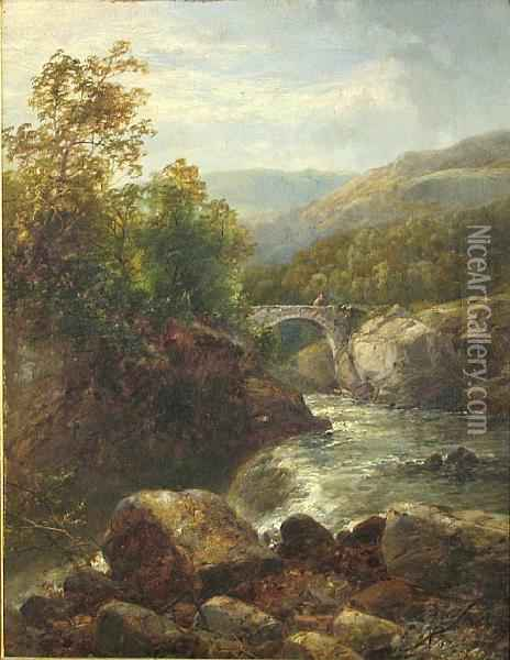 A River Landscape With A Footbridge In Thedistance Oil Painting - James Burrell-Smith