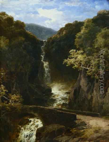 Waterfall Oil Painting - James Burrell-Smith