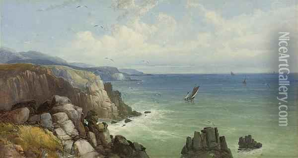 A Calm Day On The South Coast Oil Painting - James Burrell-Smith