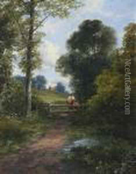 Mother And Child By A Stile Oil Painting - James Burrell-Smith