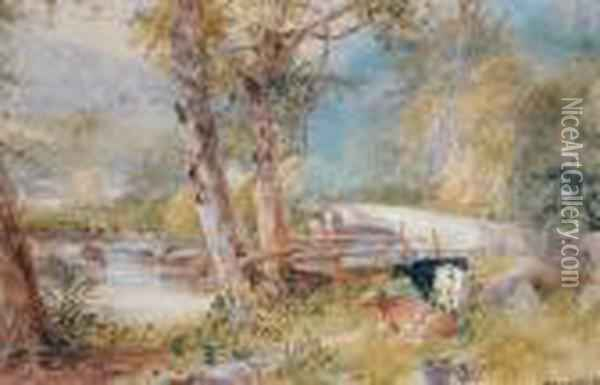 Cattle Beside A Bridge Oil Painting - James Burrell-Smith