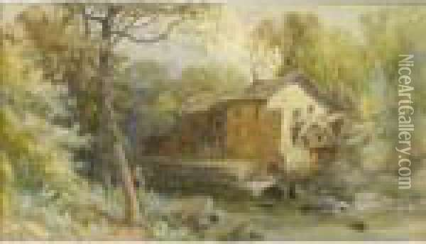 Lanercost Mill, Cumberland Oil Painting - James Burrell-Smith