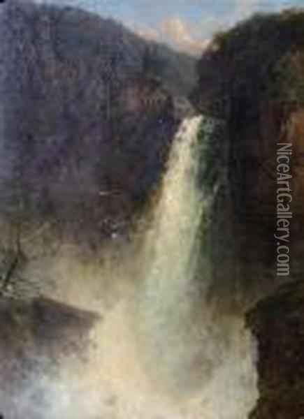 Waterfall In A Wooded River Valley With A Snow Topped Mountain In The Background Oil Painting - James Burrell-Smith