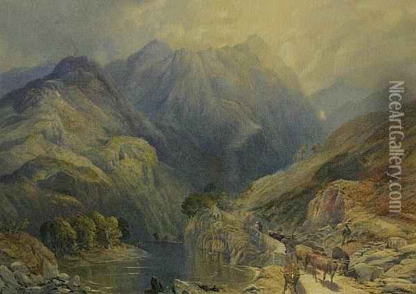 A Mountainous Landscape With A Drover Oil Painting - James Burrell-Smith