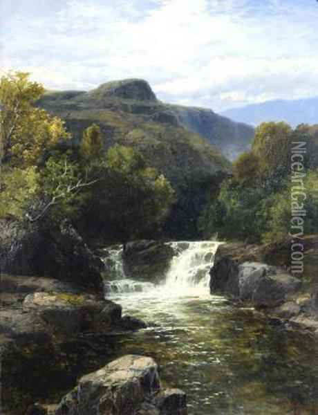 Mountainous Scene With Waterfall Oil Painting - James Burrell-Smith