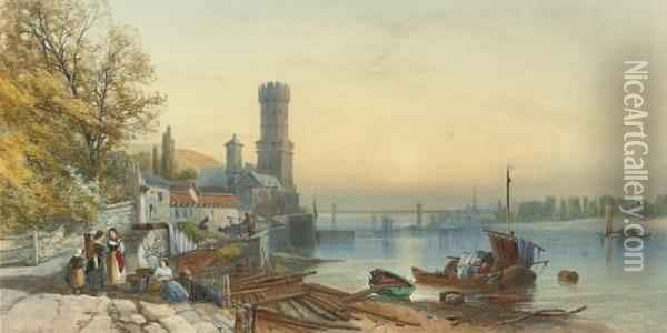 Figures On The Banks Of The Rhine At Cologne Oil Painting - James Burrell-Smith