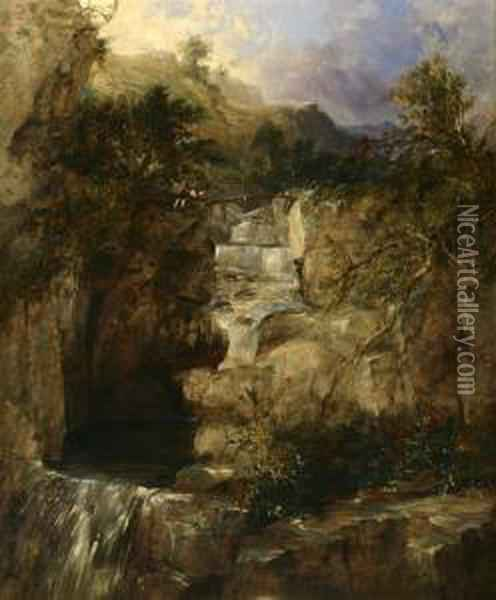 Figures Above A Waterfall Oil Painting - James Burrell-Smith