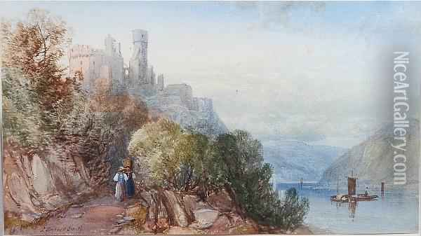 River Scene, Possibly Cherbourg Castle With Figures In The Foreground Oil Painting - James Burrell-Smith