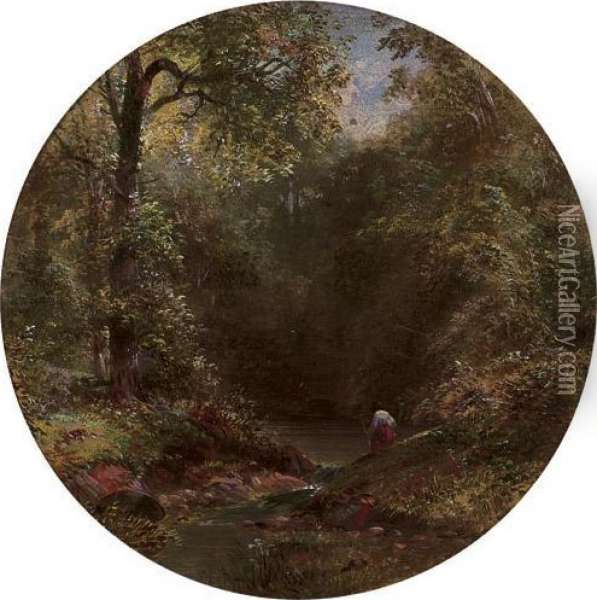 Figure On A Wooded River Bank Oil Painting - James Burrell-Smith