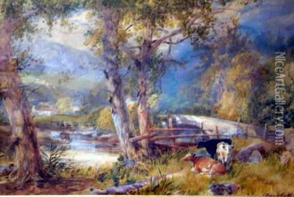 Landscape With Cattle Watering Oil Painting - James Burrell-Smith