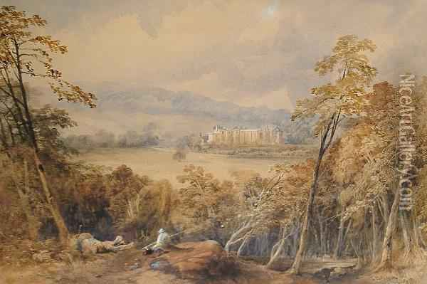 Guy's Cliffe House, Warwickshire J B. Smith/1848' (lower Right) Oil Painting - James Burrell-Smith