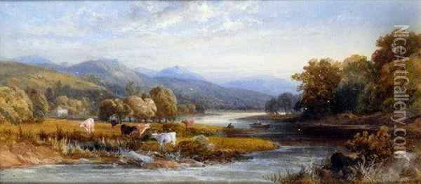 An Extensive Summer River Landscape With Cattle, Fishing From A Boat Oil Painting - James Burrell-Smith
