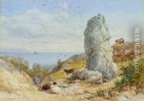 The Long Stone, Mottistone, Isle Of Wight; Brook Chine, Isle Of Wight Oil Painting - James Burrell-Smith