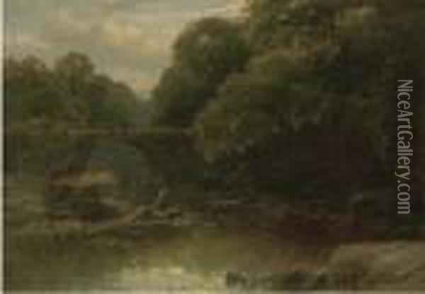 An Angler In A Rocky River With A Bridge Beyond Oil Painting - James Burrell-Smith