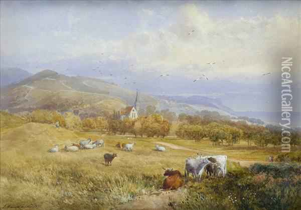 Cattle Andsheep In An Extensive Summer Landscape, Figures And Church Beyond Oil Painting - James Burrell-Smith