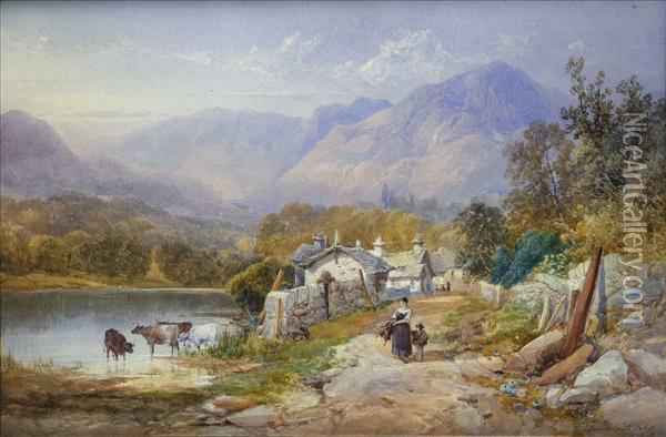 A Lakelandvillage, With Figures, Cattle Watering Oil Painting - James Burrell-Smith